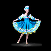 High Quality Custom Made Russian Folk Dance Costume Dress With Headwear Head For Adult Kids,Women Russia Performance Wear HF001