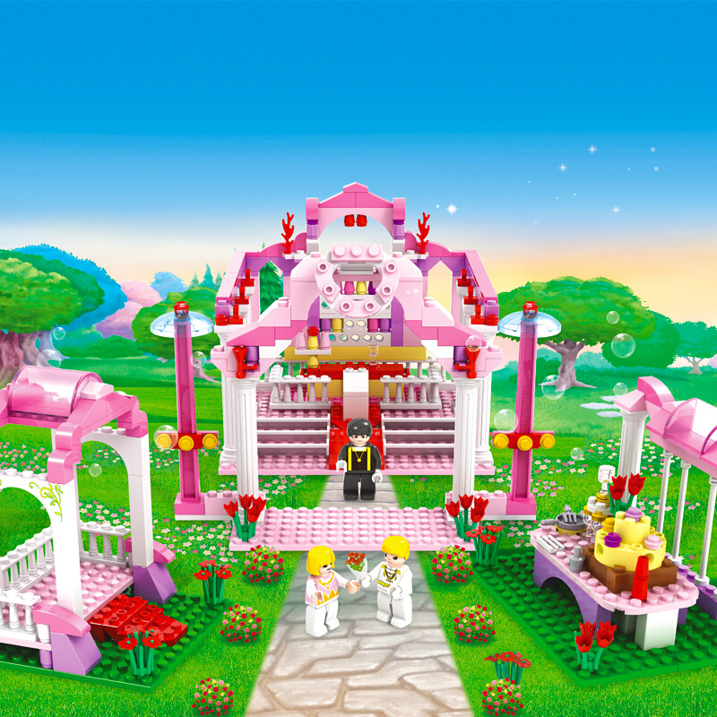 7-Style-Kids-Dream-Princess-and-Prince-Pink-Palace-Castle-Set-Model-Building-Blocks-Compatible-With-Lego-Gifts-child-Toys-3