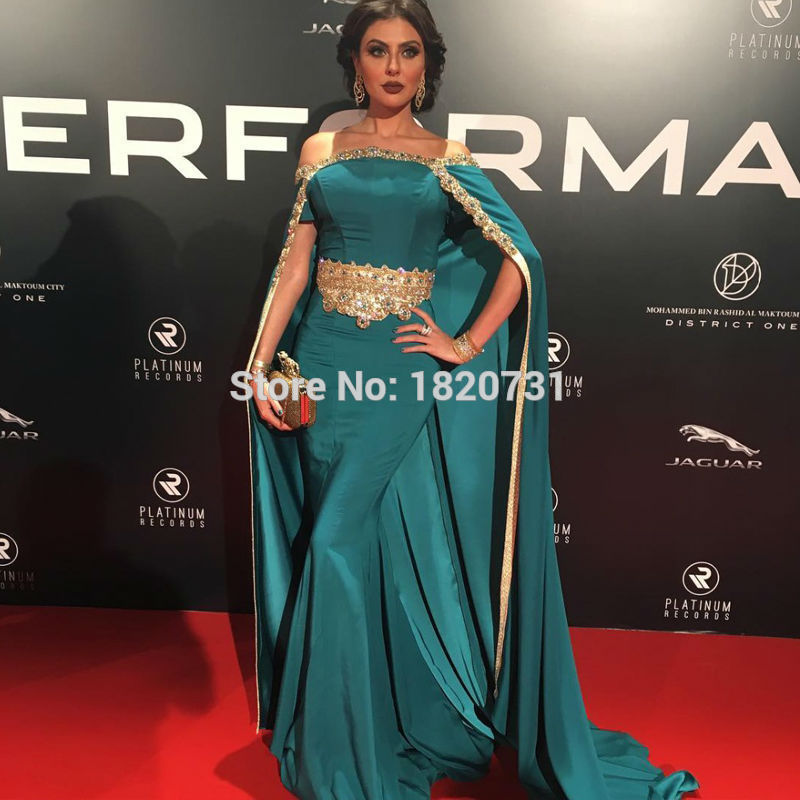 2019 New Fashion Hot Sale Arabic Cape   Dresses   Gold Decals   Evening   Gowns Boat Neck Lace Embroidery with Shawl   Evening     Dress