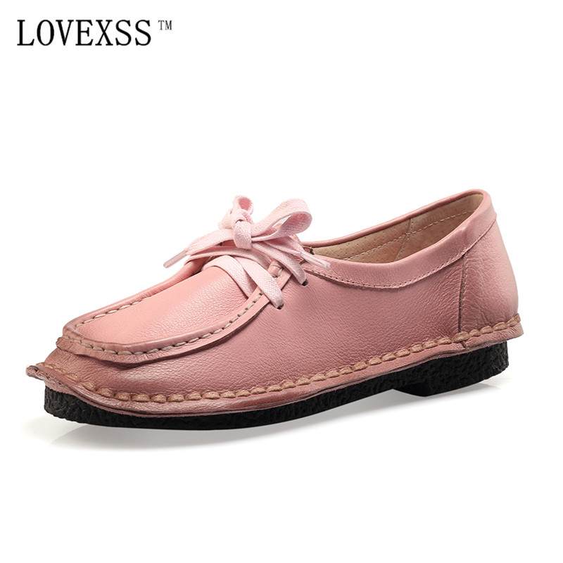 LOVEXSS Retro Genuine Leather Flats Pink Black Brown Green Violet Red Lace-Up Woman Shoes 2017 Spring Flat Platform White Flats women shoes flats brown coffee green blue 100