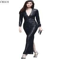 LXUNYI Signore Vestito di Paillette Manica Lunga di Lusso Alla Moda Sexy Profondo Scollo A V Vestito Da Partito Donna Nero Lungo Sottile Banchetto abiti