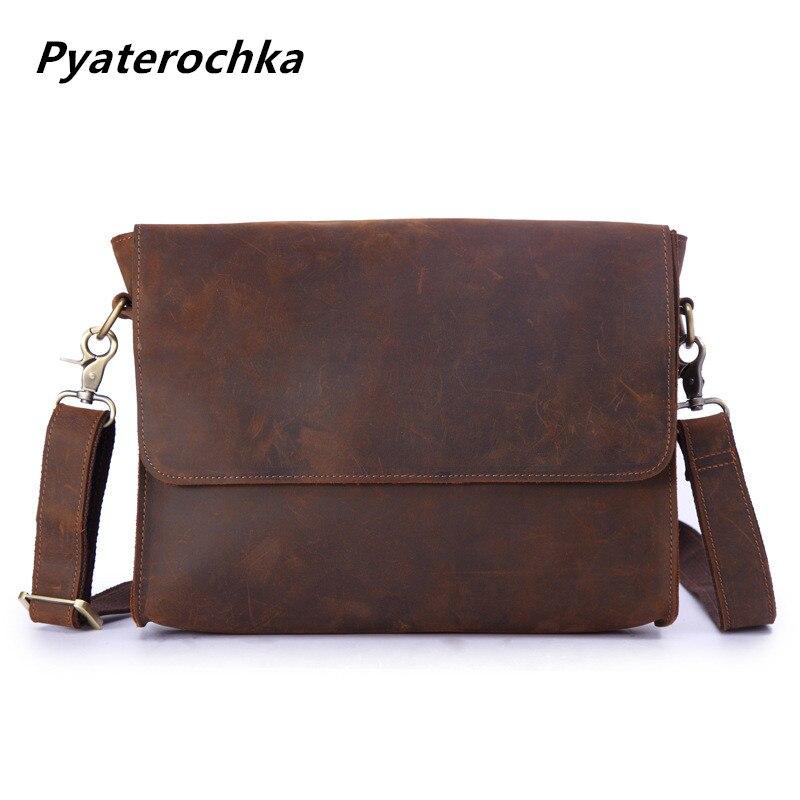Pyaterochka homme sac à bandoulière café foncé Crazy Horse cuir hommes bureau Messenger sacs en cuir véritable marque Vintage sac de travail