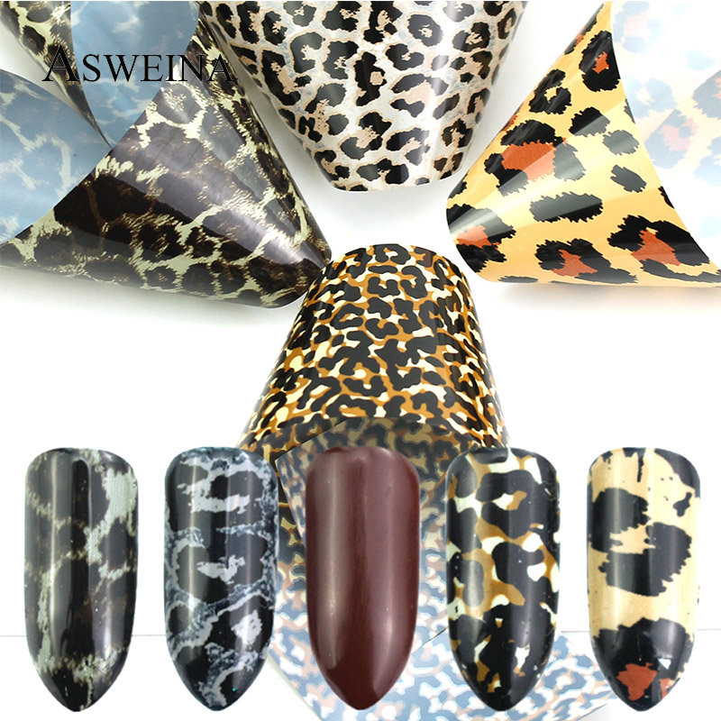 US $1 05 25% OFF|4Pc/Set New Nail Art Foil Leopard Design Charm Transfer  Stickers Paper Holographic Adhesive Decals Nail Decoration-in Stickers &