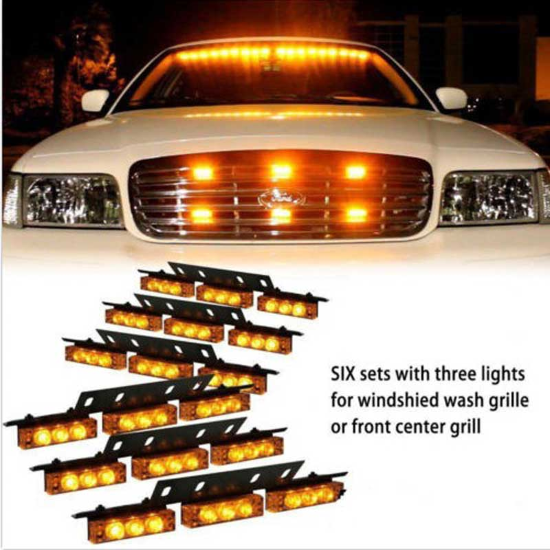 ФОТО New Car Auto 54 LED strobe Light Blink Flash  Lights/Light bars for Deck Dash Grille red blue amber white