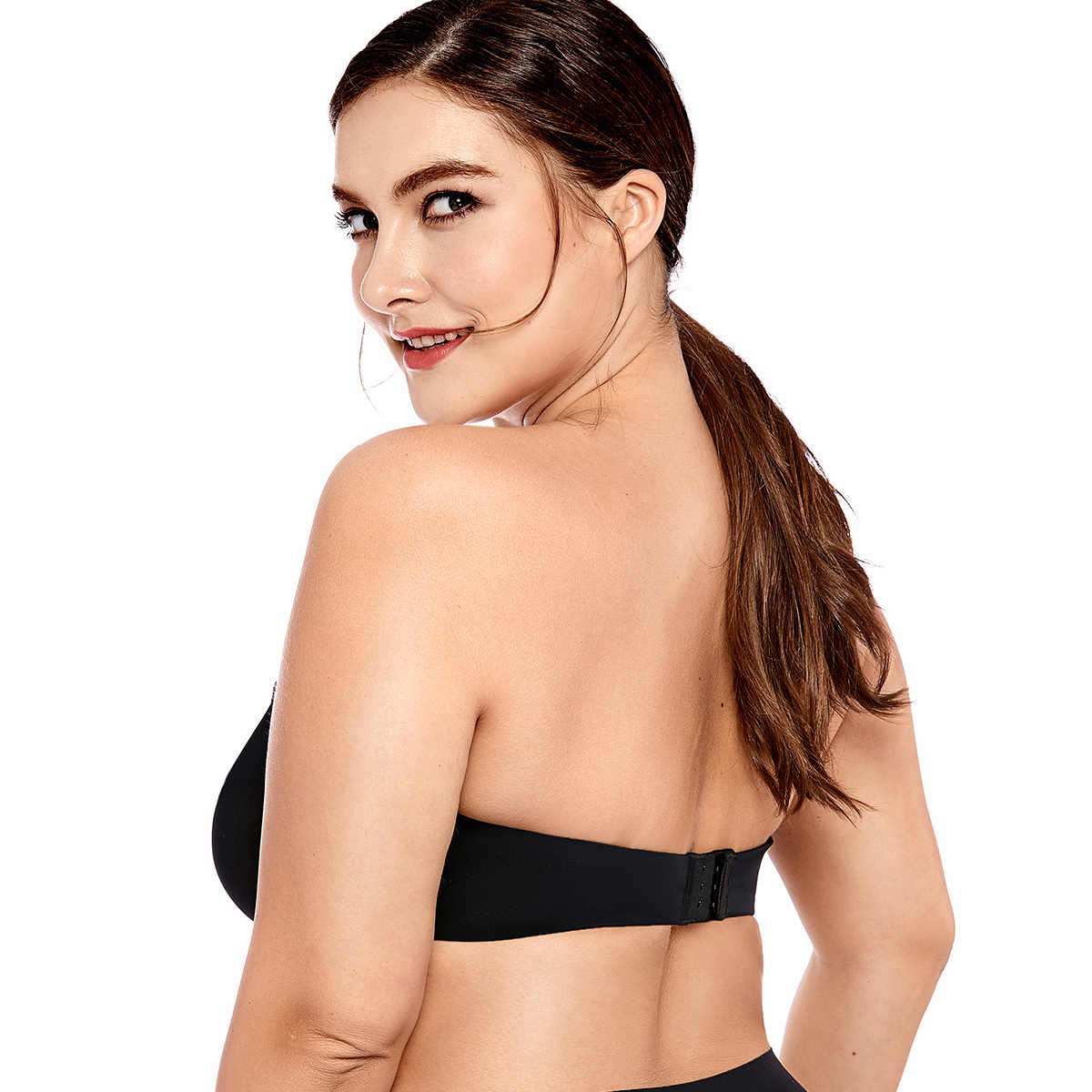 cf2b257ef28 ... Delimira Women s Full Coverage Smooth Seamless Invisible Underwire  Minimizer Strapless Bra Plus ...