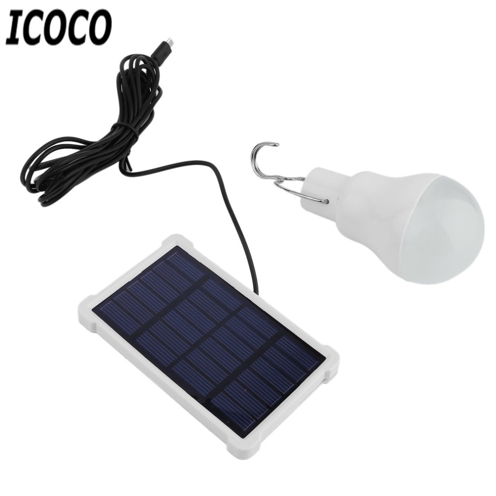 ICOCO 2017 Outdoor Light150LM 15W Portable LED Bulb Solor Engergy Garden LED Lamp Solar Panel Light for Camping Hiking Wholesale