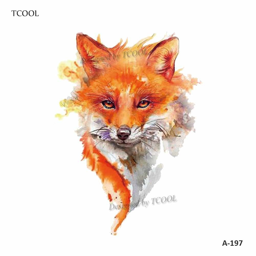 HXMAN Fox Women Temporary Tattoo Sticker Tattoos For Men Fashion Body Art Kids Children Hand Fake Tatoo 9.8X6cm A-197
