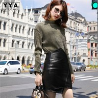Luxury Sheepskin Genuine Leather Mini Skirts Womens Streetwear Office Ladies High Waist Wrap A Line Skirt Black Irregular Faldas