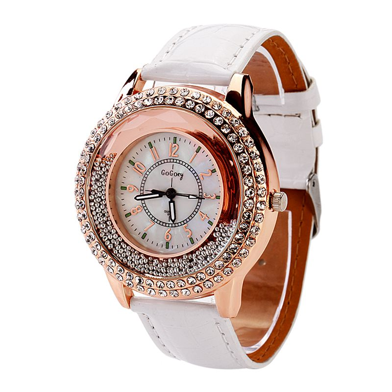 New Fashion Ladies Watch Crystal Rhinestone PU Leather Watches quicksand Women Dress Quartz Wristwatch Hours Reloj Mujer