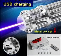 017 USB 50000 mw Hoge Burning match SOS Blauwe Laser Pen Laser Pointer USB Opladen Metalen Doos Set omvat Patroon Caps Lazer Torch