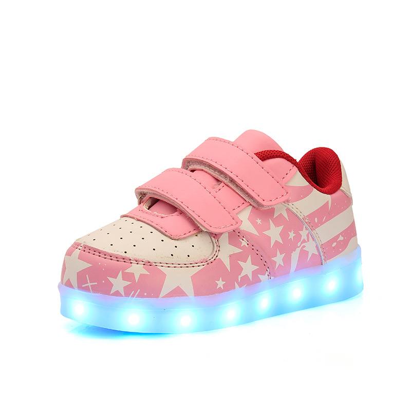 led Glowing Sneakers Kids Shoes Flag night light Boys Girls Shoes Fashion Light Up Sneakers With Luminous Sole USB Rechargeable glowing sneakers usb charging shoes lights up colorful led kids luminous sneakers glowing sneakers black led shoes for boys