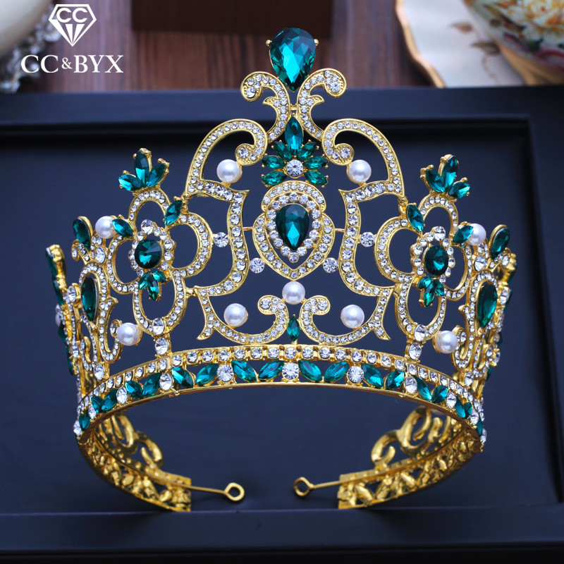 CC big tiaras and crowns hairbands engagement wedding hair accessories for bridal queen jewelry green cz
