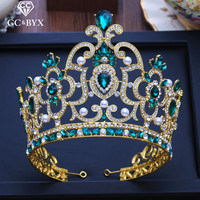 CC big tiaras and crowns hairbands engagement wedding hair accessories for bridal queen jewelry green cz luxury pageant XY206
