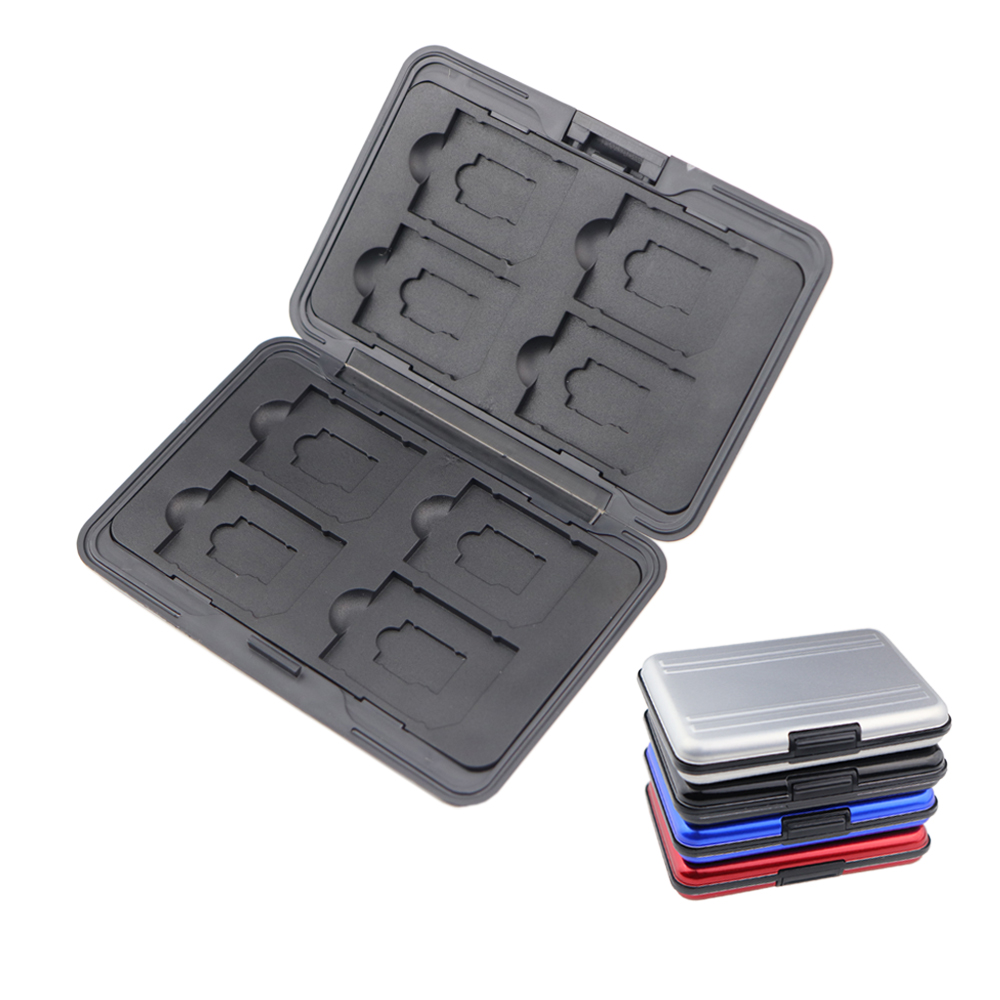 Portable Aluminum Micro SD SD SDHC SDXC TF Memory Card Carrying Case Holder Organizer Box 16 Slots For Camera Media Storage