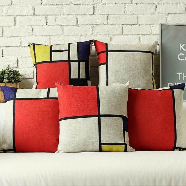 Modern Art Red Yellow Blue Geometric Design Decorative Sofa Throw