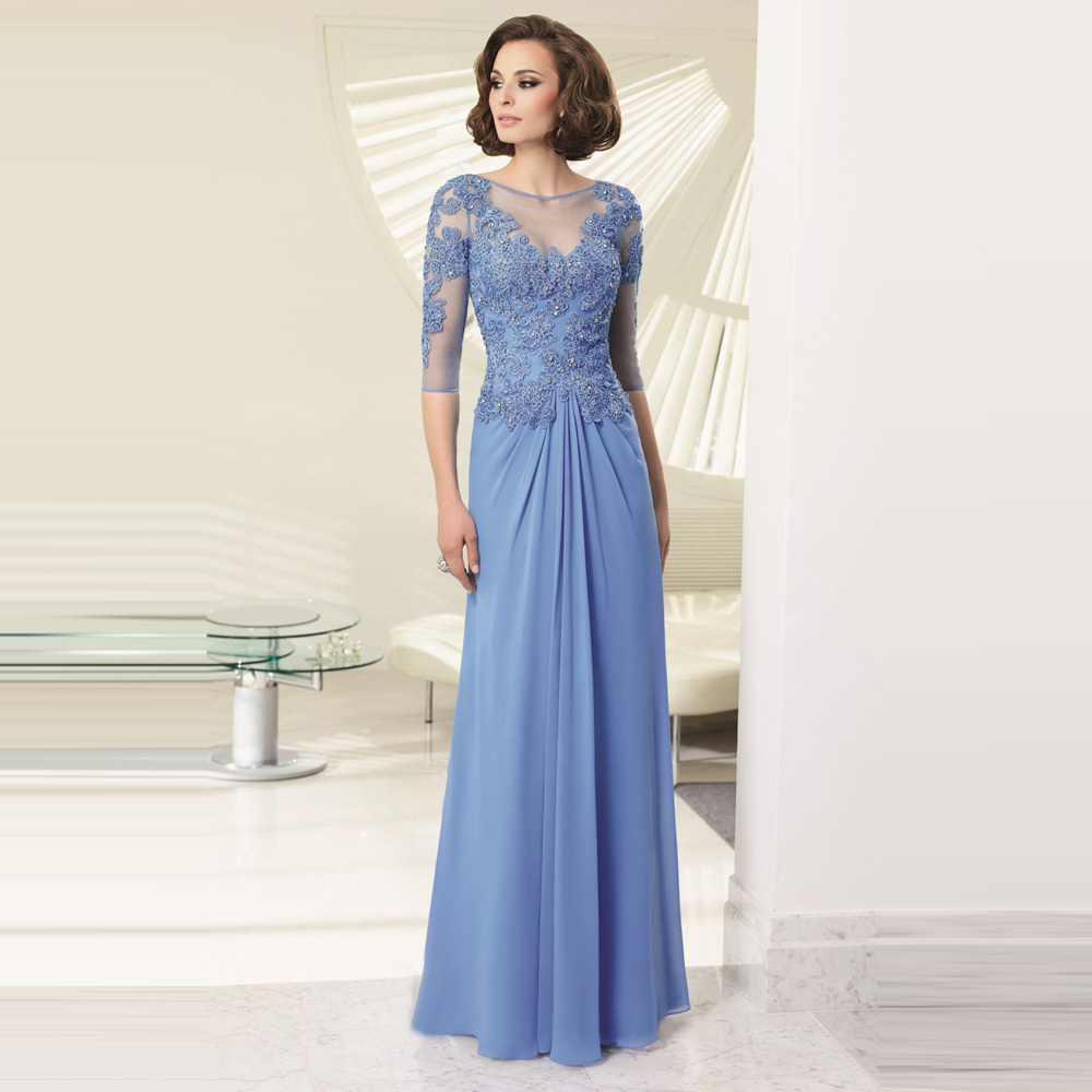 Mother Of The Groom Dress: Wholesale A Line Appliques Chiffon Scoop Neck Mother Of