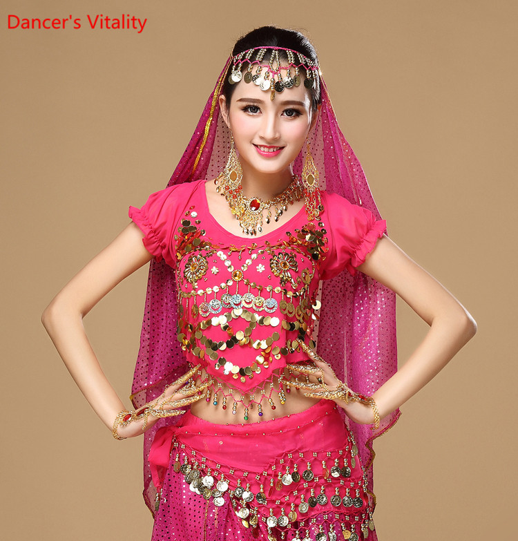 Women's Belly Dance Costume Shirt Chiffon Lantern Short Sleeves Gold Coins Top&tees Indian Clothing Belly Dancing Practice Tops