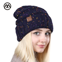 cc cap lady winter fashion hat blended knitted female hat  Women  Skullies Beanies outdoor leisure warm hat fashion ladies Gray