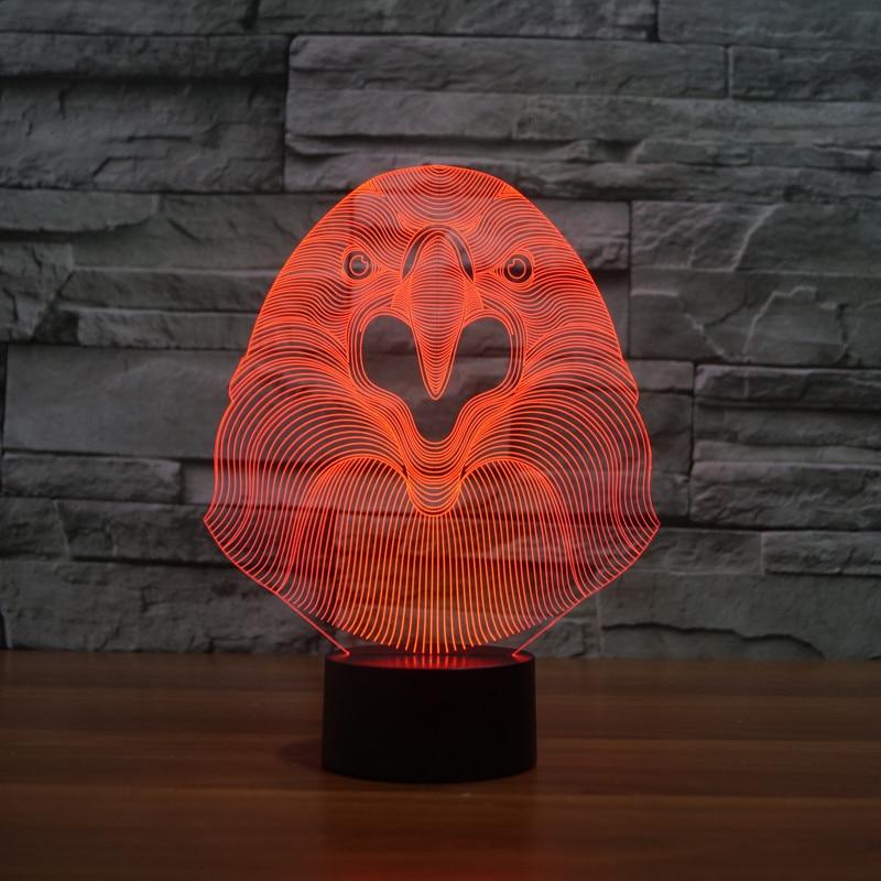 3237 3D Eagle Hawk глава фигурку модель Стиль светодиодные лампы 7 цветов Изменение атмосфера Спальня лампа Таблица декора дома лампа