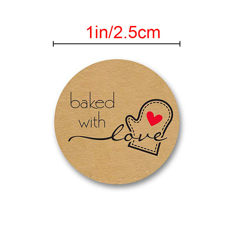 1Inch Round Natural Kraft with Stickers Suitable for baked with handmade or homemade gift party decoration/500 Labels per roll 1Inch Round Natural Kraft with Stickers Suitable for baked with handmade or homemade gift party decoration/500 Labels per roll
