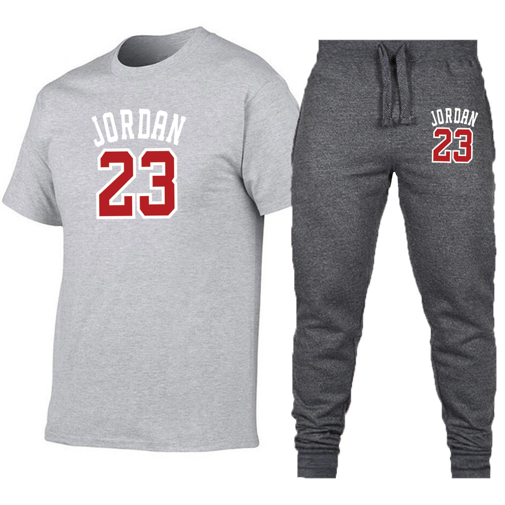 f21968ccd942fb 2019 Summer Hot Sale Men s Sets T Shirts Print Jordan 23+pants Two Pieces  Sets Casual Tracksuit Male Casual Tshirt trousers men