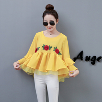 Mikialong 2018 Floral Embroidery Peplum Shirts Women Pleated Mesh Ruffle Blouses Women Tops Korean Butterfly Sleeve Blusa Mujer