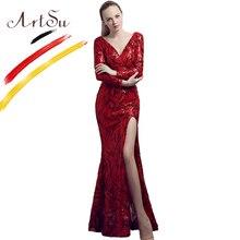 ArtSu Winter V-Neck Long Sleeve Robe De Soiree Luxury Sequined Mesh Party  Dress Women 15825220402a