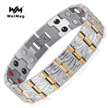 WelMag men's Magnetic Bracelet Bangles Double Health Care Elements(Magnetic,FIR,Germanium) Stainless Steel Jewelry Wristband stainless steel hologram bracelet germanium balance energy care magnetic power health bracelets bangles