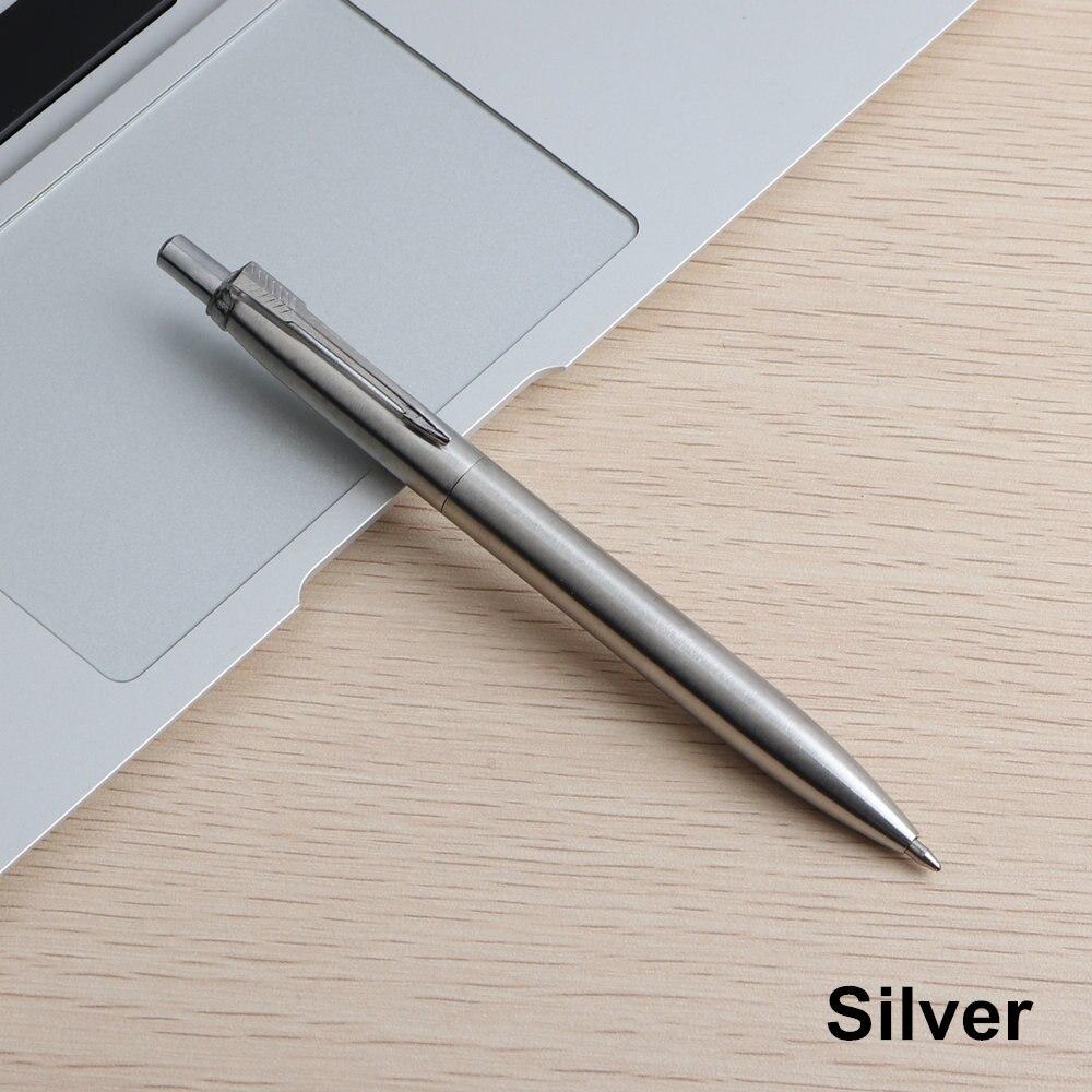 Офисная ручка Коммерческая металлическая Подарочная шариковая ручка канцелярские стержни solventborne автоматические шариковые ручки для школы офиса 0,7 мм заправки - Цвет: 1PCS Silver