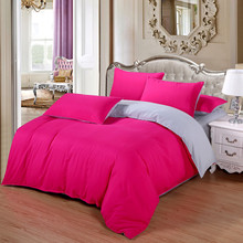 Fuchsia/Grey AB Side Bedding Sets bed linens 4pcs/set duvet cover set kids/Adult bedding bedclothes Women Girl Bedcover