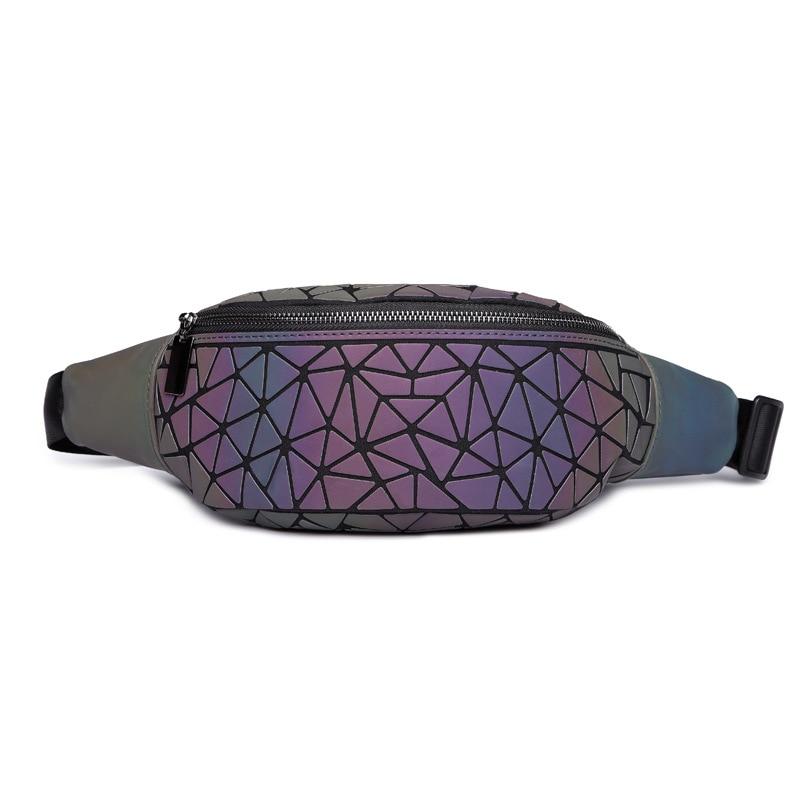 2018 Fashion Luminous Waist Bags Women Waist Fanny Packs Belt Bag Luxury Brand Leather Chest Handbag Geometry Waist Packs