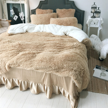 Winter Warm Bedding sets Long Hair Cashmere Duvet Cover Fleece Thinken bedcloth bed linen sets Fitted sheet and Bedskirt sets