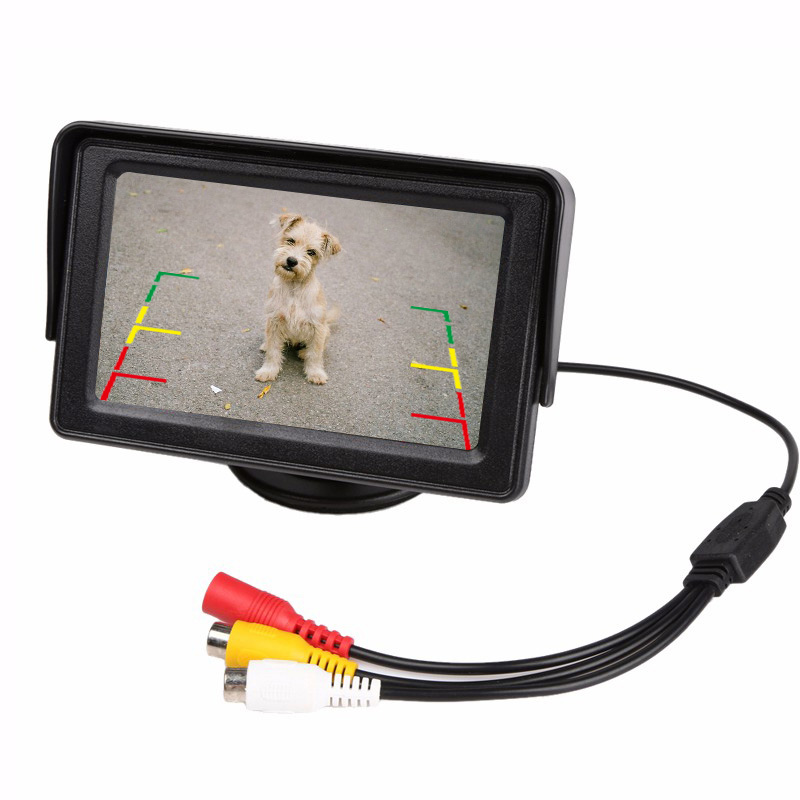 Online / 4.3 inch TFT LCD Parking Car Rear View Monitor Car Rearview Backup Monitor 2 Video Input for Reverse Camera DVD