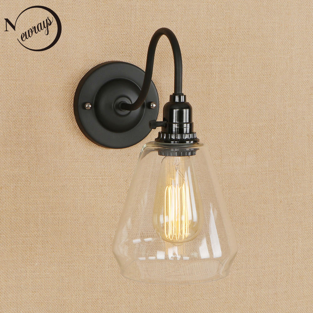 Retro simple iron&glass wall lamp modern black wall light LED E27 for kitchen bedroom living room restaurant office path study цена