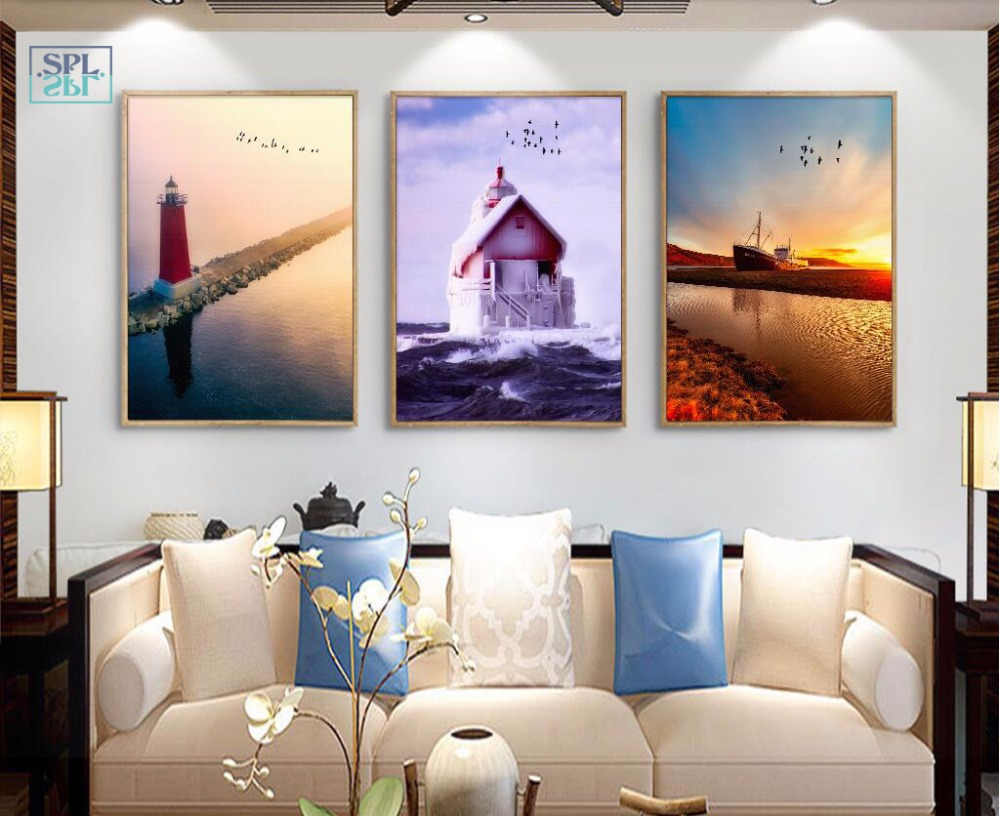 SPLSPL Modern Boat Lighthouse Canvas Art Print Painting And Poster Nature Seascape Wall Picture For Home Decor Without Frame