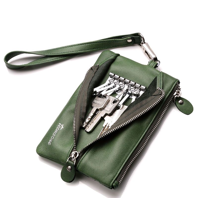 teemzone Womens Genuine Braided Lines Soft Leather Car Key Case Chains Holder Buckle Fashion 6 Key Rngs Coin Key Wallet Q462