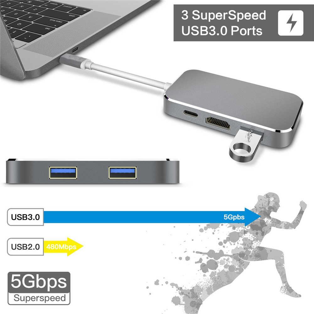 ZY-HU30 5-IN-1 Thunderbolt 3 USB-C ประเภท C ถึง USB 3.0 HUB Multiport อะแดปเตอร์ HDMI 4K 60 HZ USB 3.1 พอร์ตชาร์จ PD สำหรับ MacBook Pro