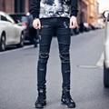 Мужчины отверстия дизайн джинсы моды случайные старинные мужские джинсовые брюки улица панк hip hop slim fit жан брюки