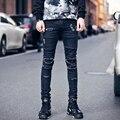 Men holes design jeans fashion casual vintage men's denim trousers street punk hip hop slim fit jean pants