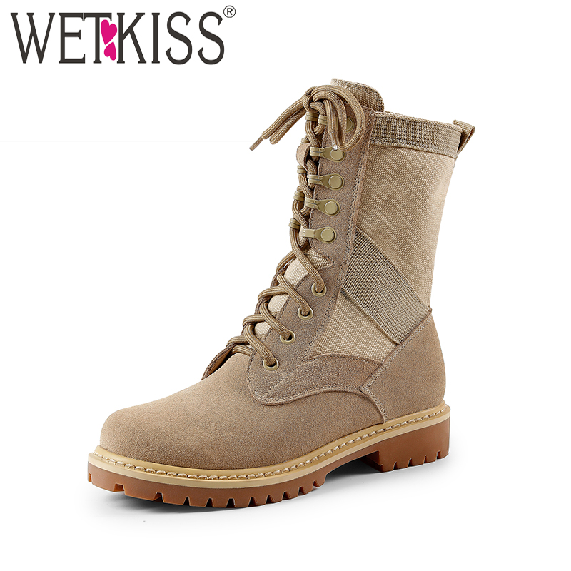 WETKISS Low Thick Heels Women Boots Round Toe Cross Tied Footwear Military Female Platform Boot Winter Shoes Women 2018 Black цена