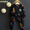 Menoea 2017 Autumn Casual Style Kids Clothing Sets Boys Clothes Children Clothing Cartoon Print Jackets+Pants 2Pcs