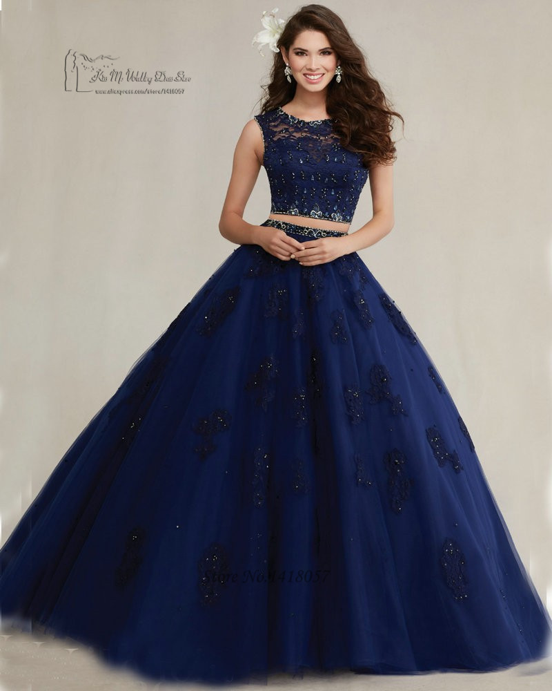 Navy Blue Turquoise Hot Pink Two Piece Quinceanera Dresses Lace ...