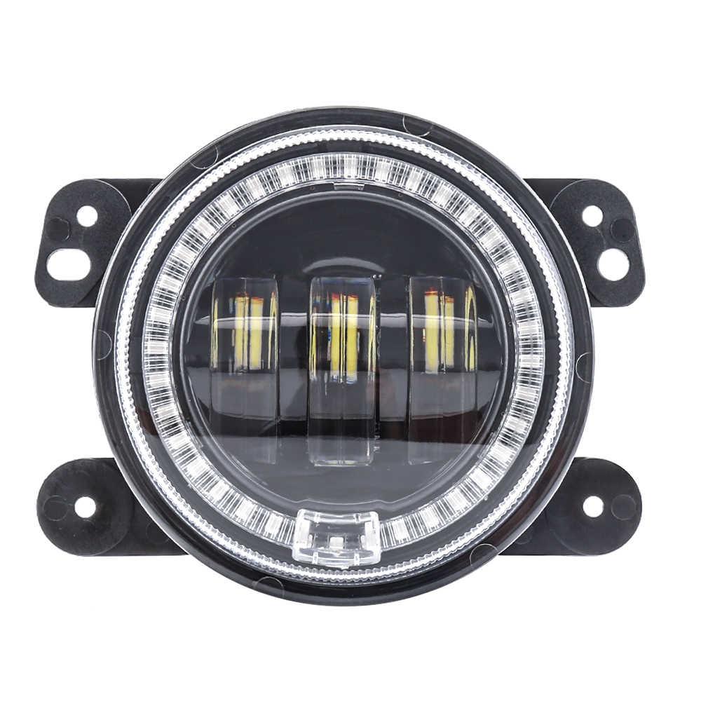 Araba Far için Jeep Bluetooth Kontrol Araba RGB Led ön far sis lambası Halo Melek Halka Jeep Wrangler RGB LED Lamba otomatik