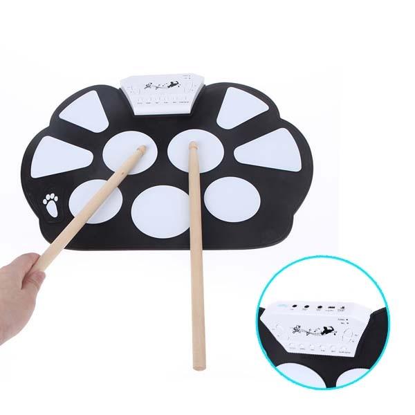 Andoer Portable /électronique retrousser Drum Pad Kit silicone pliable avec b/âton