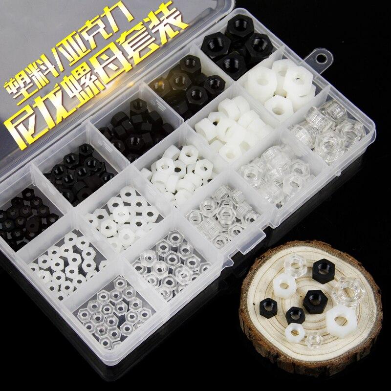 1box / lot Nylon Plastic / Black / White / Clear Acrylic Hex Nut Nut Set M3M4M5M6M8 three hands box set of 3 wood dice white