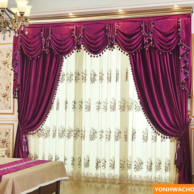upscale European red Italian velvet wedding  thick cloth blackout curtain N931