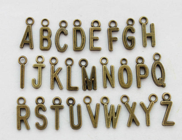 78PCS Assorted Antiqued bronze alphabet letter charms #22789 FREE SHIPPING