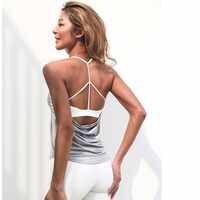 Fack dois pçs interior das mulheres padd yoga superior tanque mulher esportes coletes longos fitness correndo camisa ginásio roupas de treino