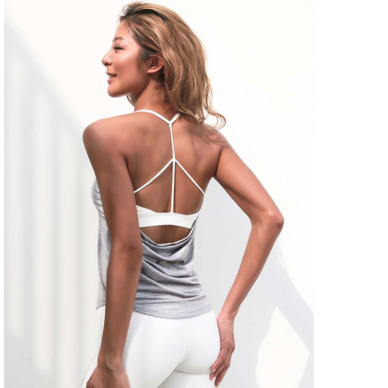 Fack two pcs women's inner padd yoga top tank woman sports long vests fitness running shirt gym workout clothes(China)