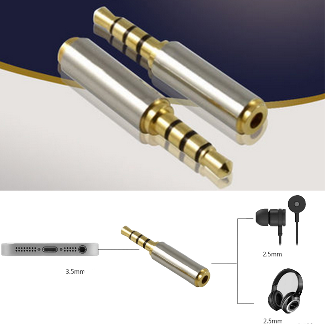 hot sale 1pc Gold 2.5 mm Male to 3.5 mm Female audio Stereo Adapter Plug Converter Connector Headphone jack reliable 100% brand new and high quality 2 5mm male to 3 5mm female stereo audio headphone jack adapter converter